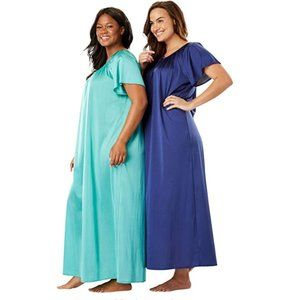 NWT 26/28 Only Necessities 2-Pack Long Silky Gown